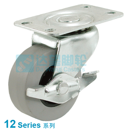 "DW 12 Series 5""(100mm) Grey TPR on Black PP Wheel  Top Plate Swivel w/Side Brake Caster"