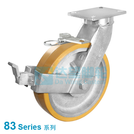 "DW 83 Series 6""(152mm) Yellow PU on Silver Iron Wheel Top Plate Swivel w/Total Lock Assembly Caster"