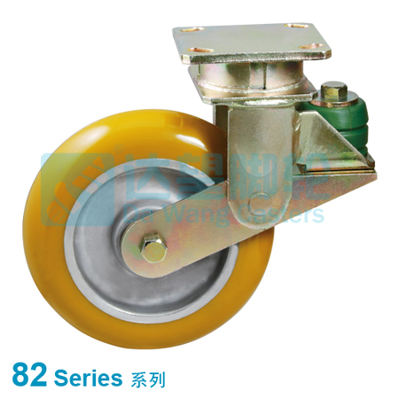 "DW 82 Series 6""(152mm) Round Tread Yellow PU on Alu.Wheel PU Spring Loaded Swivel Caster"