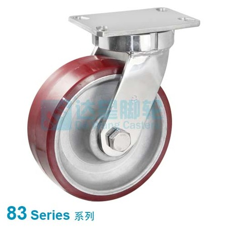 "DW 83 Series 12""(305mm) Red PU on Aluminium Wheel Top Plate Swivel  Caster(184.2x133.4mm)"