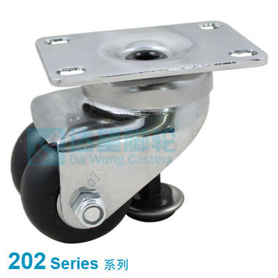 "DW 202 Series 2""(50mm) Black Neoprene Rubber Wheel Top Plate Swivel Caster with Rigid Leveling Foot"
