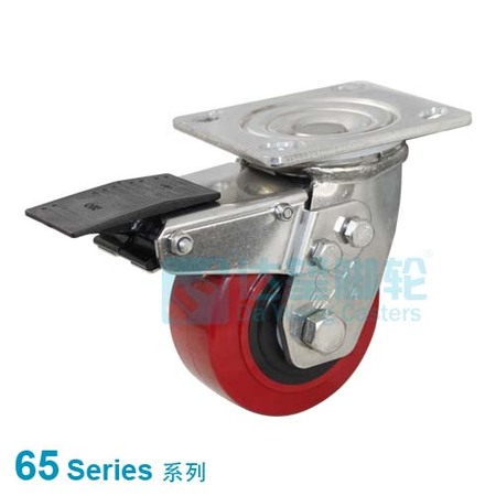 "DW 65 Series 4""(101mm) Red PU on Black PP Wheel Top Plate Swivel  w/Total Lock Assembly Caster"