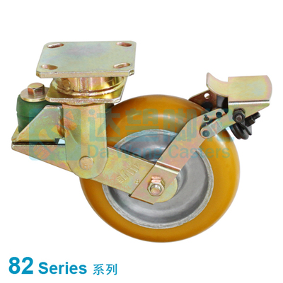 "DW 82 Series 6""(152mm) Round Tread Yellow PU on Alu.Wheel PU Spring Loaded Swivel Caster w/Brake"