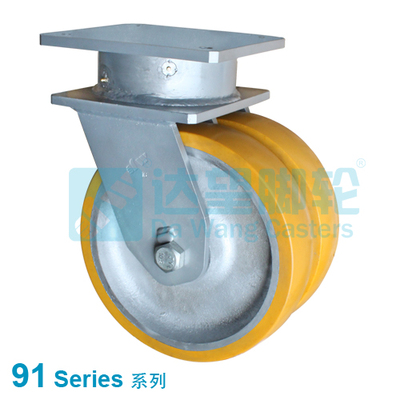 "DW 91 Series 16""(406mm)  Dual Yellow PU on Silver Iron Wheel Top Plate Swivel Caster"