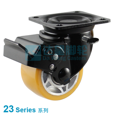 "DW 23 Series 3""(75mm) Black PP Wheel Top Plate Swivel Casterw/Total Lock"