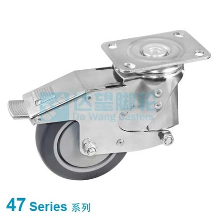 "DW 47 Series 3""(76mm) Grey PU on Grey PP Spring Loaded Wheel Top Plate Swivel Caster w/Brake"
