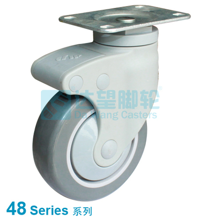 "DW 48 Series 4""(101mm) Dark Grey PU on Grey PP Wheel  Top Plate Swivel Caster"
