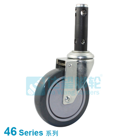 "DW 46 Series 5""(127mm) Grey TPR on Grey PP Wheel  Medical Central Lock Swivel Caster"