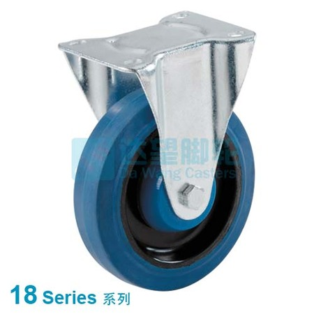 "DW 18 Series 5""(127mm) Elastic Blue Rubber Wheel  Top Plate Rigid Caster"