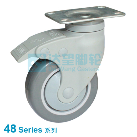 "DW 48 Series 3""(76mm) Dark Grey PU on Grey PP Wheel  Top Plate Swivel w/Total Lock One Piece Caster"