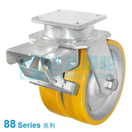 "DW 88 Series 12""(305mm) Dual Yellow PU on Silver Iron Wheel Top Plate Swivel w/Total Lock Caster"