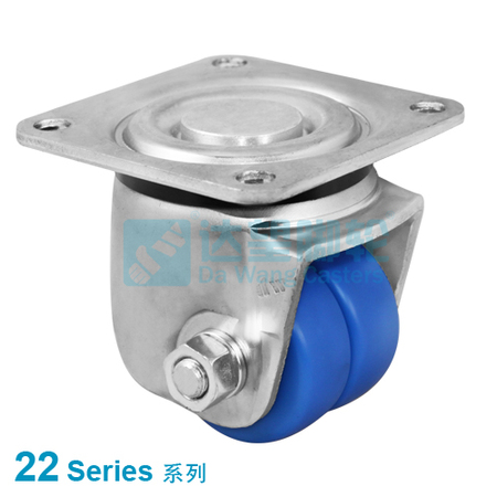 "DW 22 Series 1.7""(44mm) Blue MC Nylon Twin Wheel Business Machine Wheel  Top Plate Swivel Caster"