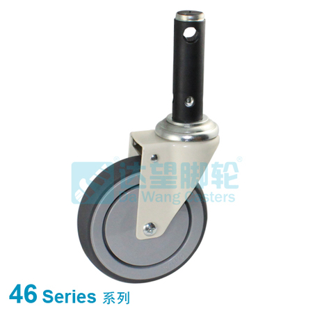 "DW 46 Series 5""(127mm) Grey PU on Grey PP Wheel  Medical Central Lock Swivel Caster"