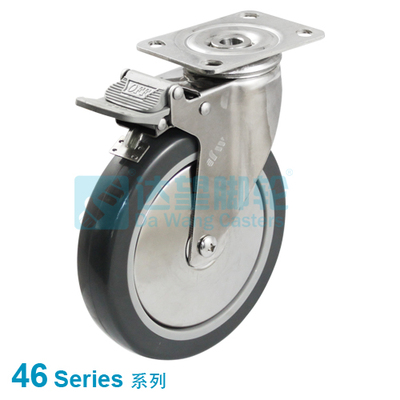 "DW 46 Series 3""(76mm) Dark Grey PU on Grey PP Wheel Double Pedal Top Plate Swivel Caster w/TL"