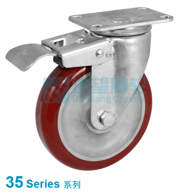 "DW 35 Series 3.5""(88mm) Round Tread Red PU on Grey PP Wheel Top Plate Swivel Casterw/Total Lock"