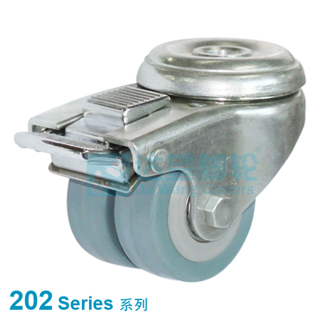 "DW 202 Series 2""(50mm) Grey Rubber on PP Wheel  Top Plate Swivel w/Total Lock One Piece Caster"