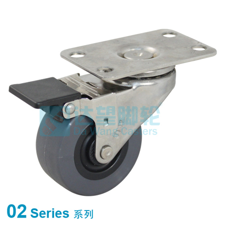 "DW 02 Series 2""(50mm) Grey PU on Black PP Wheel Top Plate Swivel w/Wheel Face Brake Assembly Caster"