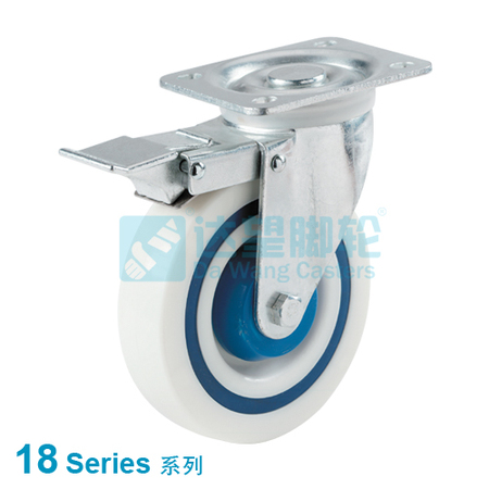 "DW 18 Series 5""(127mm) Sandwich Wheel  Top Plate Swivel w/Total Lock Assembly Caster"