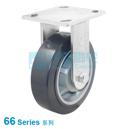 "DW 66 Series 4""(101mm) Flat Tread Grey PU on Grey PP Wheel Top Plate Rigid  Caster"