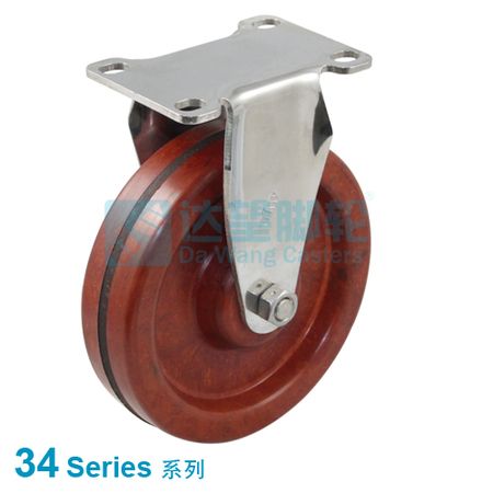 "DW 34 Series 4""(100mm) Stainless Steel Heat Resistance  Wheel  Top Plate Rigid Caster"