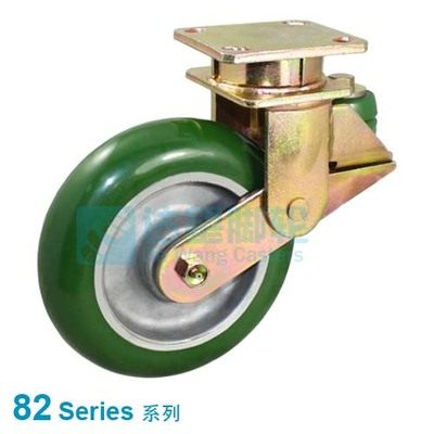 "DW 82 Series 6""(152mm) Round Tread Green PU on Alu.Wheel PU Spring Loaded Rigid Caster"