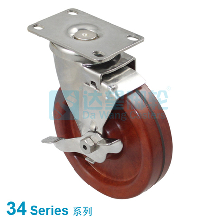 "DW 34 Series 3""(75mm) Stainless Steel Heat Resistance  Wheel  Top Plate Swivel w/Side Brake Caster"