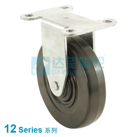 "DW 12 Series 2.5""(64mm) Black Rubber Wheel  Top Plate Rigid Caster"